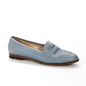 Manolo Blahnik Light Blue Leather Loafers Flats 8